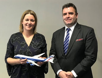 Baroness Sugg, UK Aviation Minister and CargoLogicAir CEO, David Kerr