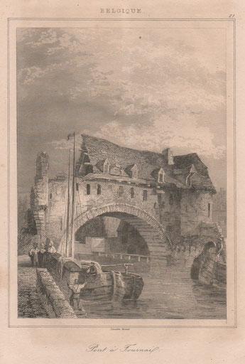 L'Arche over de Schelde in Doornik, stroomafwaarts gezien, met op de rechteroever de kantelen. Gravure: A.F. Lemaître (1844). Paris: Firmin Didot.