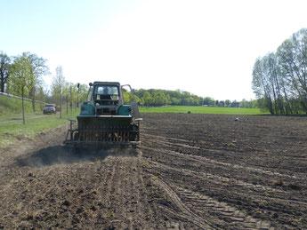 Mit unserer Sämaschine Amazone bringen wir das Getreide in den Boden ein. Die Drillmaschine funktioniert gut. Hafer und Sommer-Gerste haben wir in diesem Frühjahr gesät.