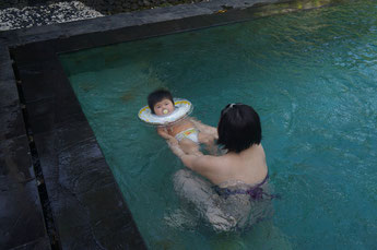The first time my little one swam in a big pool. This was in Dec 2013 in Bali.