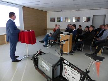 """OB Thumann bei der Veranstaltung """"Radförderung im Unternehmen"""" , 15.11.18; Bildquelle: Bürgerhaus"""