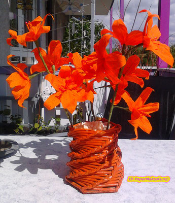 crepe paper lillies - paperrolled basket