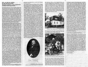 725 Jahre Langebrück - Zwei Langebrücker schreiben Konsumgeschichte;  Max Radestock, Max Hirschnitz;  In: Heide-Bote Langebrück  Oktober 2013