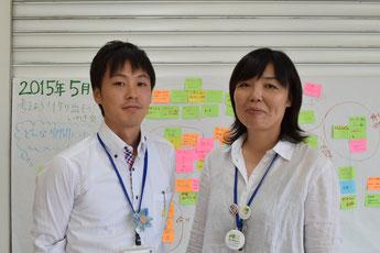 小林さん(左)と安谷屋さん。町民交流施設「ふたぱーく」の使い方を町民と話し合った「考えよう!作り出そう!いわき交流施設♪」ワークショップで出た付箋を前に