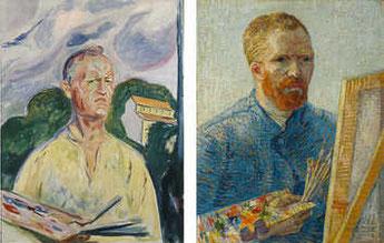Links: Edvard Munch. Selbstporträt mit Palette, 1926. © Private Sammlung. Rechts: Vincent van Gogh. Selbstportrait als Maler, 1887-1888. © Van Gogh Museum, Amsterdam.