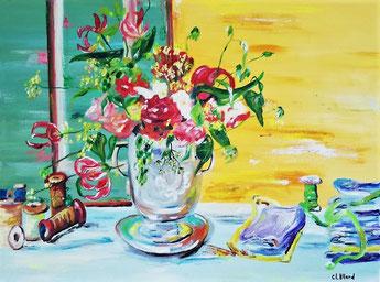 Bonne fête maman, peinture à l'huile, Claire ALLARD