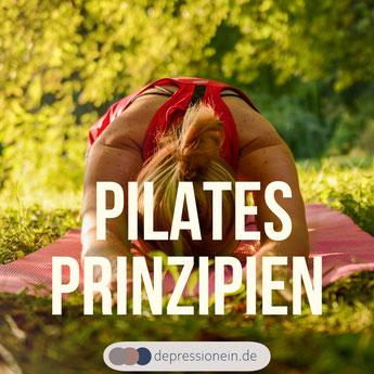 Pilates Prinzipien depressionein.de - Kontrolle Konzentration Atmung Zentrierung Entspannung Fließende Bewegung