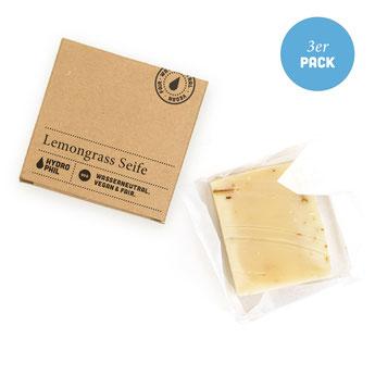 Lemongras Seife für Körper und Haar 3er Vorratspack - Naturkosmetik zertifiziert - biologisch abbaubar