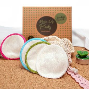 Waschbare Makeup Pads aus Bambus in 6er oder 12er Packungen - ökologische Alternative zu Einwegpads