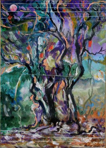 ANGELO DENARO.L'albero della vita   acrilico on canvas