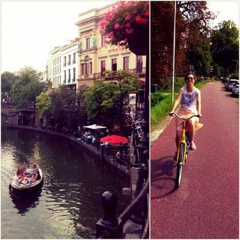 links: Gracht in Utrecht. rechts: Sari traut sich aufs Rad.