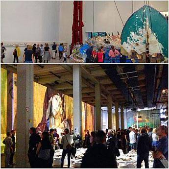 Documenta 14. oben: Documenta-Halle / unten: Neue neue Galerie