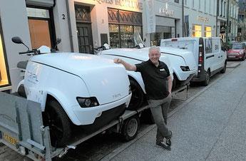 3 TRIPL LEVs wurden in Hamburg gezeigt - u.a. ein DPD-Modell. Foto: first mile
