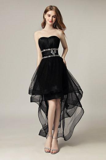festliches Kleid, vorne kurz hinten lang, Farbe schwarz