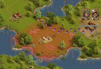 hier sieht man den Weg des Generals durch den Einflussbereich des danaben liegenden Lagers. (Klick vergößert das Bild)