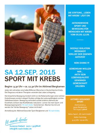Sport mit Krebs am Samstag 12.09.15 im Aktimed Bergkamen