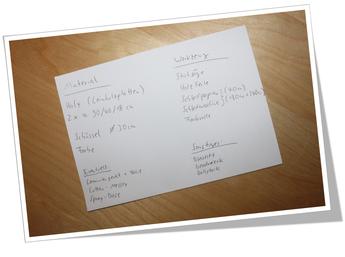 Macht euch vorher eine Material- und Werkzeugliste!