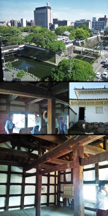 写真上:委員会が開催された大分市保健所ビルから見た府内城。写真中:人質櫓外観とその内部、下:宗門櫓の内部