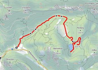 Route über den Eibenseeweg zum Eibensee und auf das Marienköpfl
