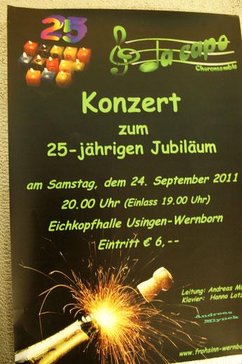Plakat für das Jubiläumskonzert von Da Capo 2011