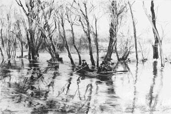 """""""Bootsfahrt"""", Kohle auf Papier, 60 × 90 cm, 2019"""