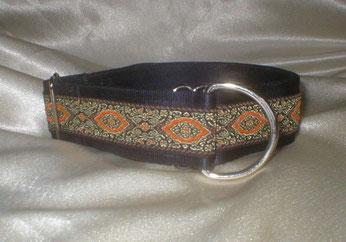 Zugstopp, Halsband, 4 cm, Gurtband schwarz, edle Borte