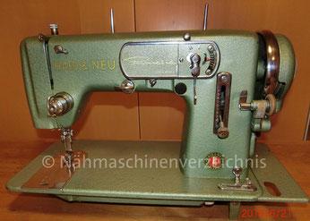 Haid & Neu Primatic, Flachbett-Haushaltsnähmaschine, Automatik mit Schablonen, Anbaumotor, Hersteller: Haid & Neu AG, Karlsruhe (BIlder: M. Bleich)