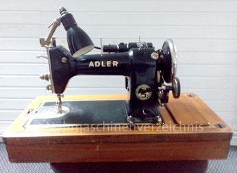 Adler 87, Flachbett-Zickzack-Nähmaschine mit eintourigem Brillengreifer, Anbaumoror, Hersteller: Kochs Adler Nähmaschinenwerke AG, Bielefeld (Bilder: D. Fass)