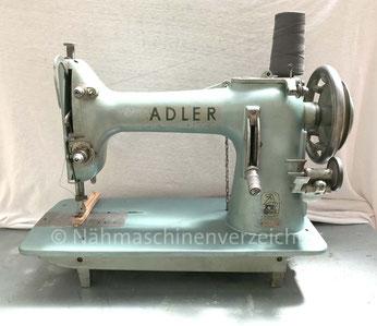 Adler 164-1, Flachbett-Gewerbenähmaschine mit Barrelschiff, Hersteller: Kochs Adler Nähmaschinenwerke AG, Bielefeld (Bilder: Nähmaschinenverzeichnis)