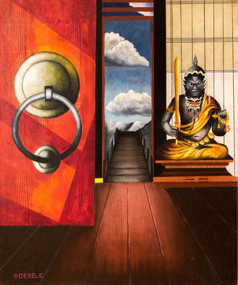 Bouddha,   De Poort die geen doorgang heeft .   olieverf op canvas  1mx1m20   Prijs; 750 euro inc btw