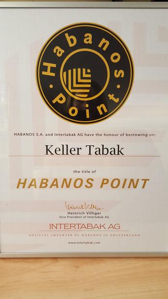 """Wir freuen uns über die Auszeichnung """"Habanos Point"""", welche wir durch die Firma Intertabak AG, dem offiziellen Importeur Kubanischer Cigarren"""
