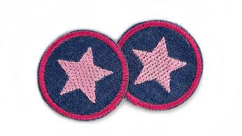 Bild: Jeansflicken Hosenflicken Stern rosa Patch zum aufbügeln Flicken