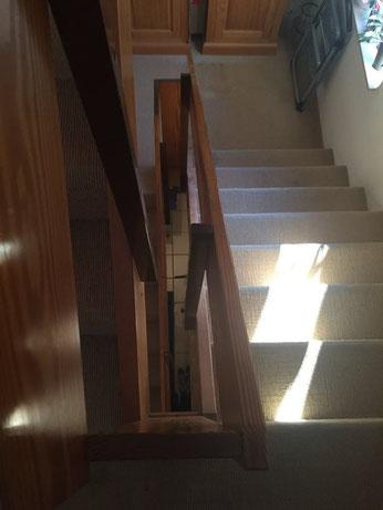 Vorher - Treppengeländer Holz