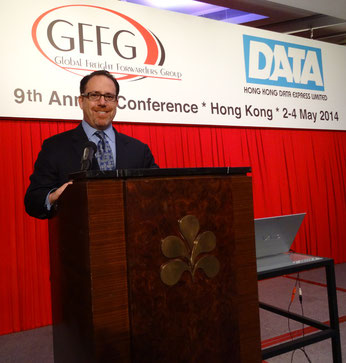 Executive Director Steven Alves of GFFG and WCM chaired the forwarding agent's Hong Kong-held conferences  /  source: GFFG