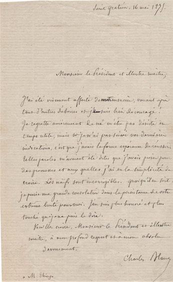 Charles Blanc lettre autographe signée Adolphe Thiers achat vente CD Galerie
