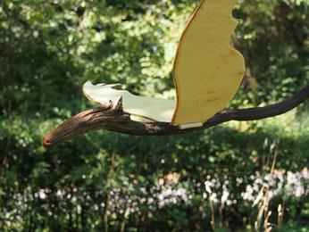 dragon en bois flotté et cagette à ailes fixes