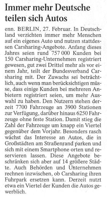 ....Immer mehr Deutsche teilen sich Autos, FAZ 28.02.2014