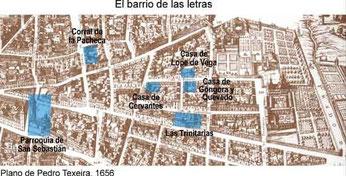 Plano del Madrid de las letras