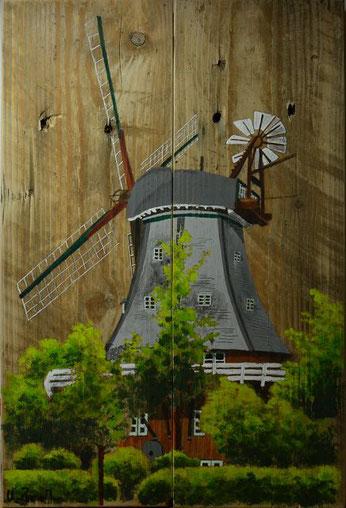 Mühle von Wyk auf Föhr auf alten Palettenbrettern