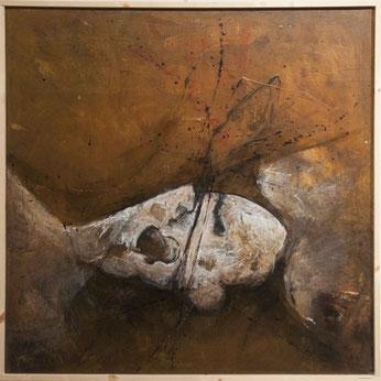 les cadavres ne portent pas de frontières - acrylique & pigments sur toile - 80x80