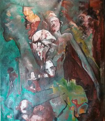 Témoins - acrylique & pigments sur toile - 80x80