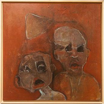Duo selfie 2 - acrylique & pigments sur toile - 80x80