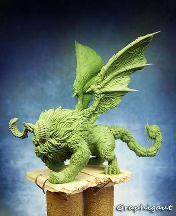 Mythic Battles: Pantheon, Manticore, Monolith Games, fimo, beesputty, 32mm, handmade sculpture