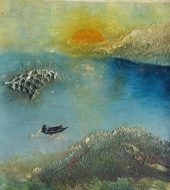 "Nr. 58 / IRENE FRÜHWIRTH-SOLNITZKY / ""Sunrise I"" Mixed Media auf Leinwand/MDF-Platte, 30x30cm, (Teil eines Triptychons), 430,-€ (für das Triptychon)"