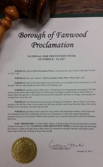 The Proclamation issued by Fanwood Mayor Mahr for Fire Prevention Week