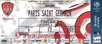 Ticket  Brest-PSG  2010-11