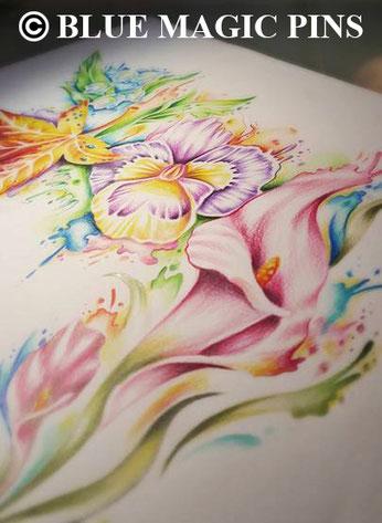 blue magic pins tattoo genk belgium watercolor custom design tattoos