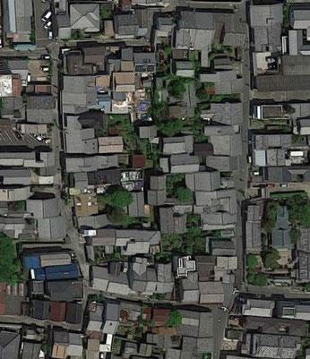 (西新屋町周辺の航空写真)