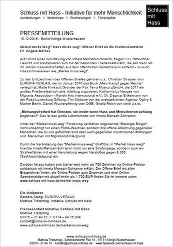 Pressemitteilung 15.12.2016 - Berlin/Königs Wusterhausen - Merkel muss Weg? Hass muss weg! Offener Brief an die Bundeskanzlerin  Dr. Angela Merkel