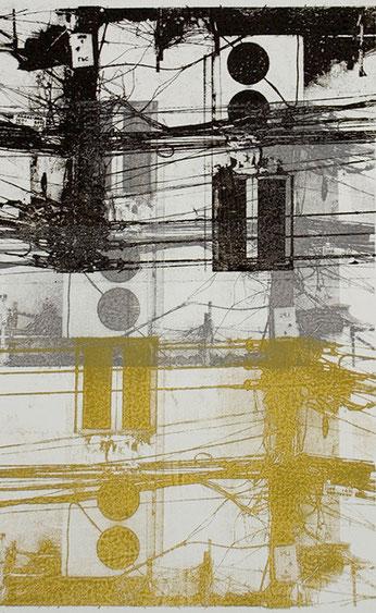 Lithografie in Gelb und Schwarz von Rainer Kaiser